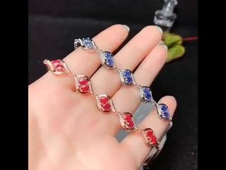 Kjjeaxcmy, хорошее ювелирное изделие, натуральный сапфир, рубин, серебро 925 пробы, новинка, женский