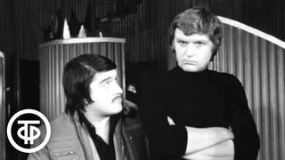 Сцена из спектакля «КПД одержимости». У театральной афиши (1978)