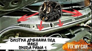 Чистка дренажа под жабо Skoda Fabia 1 | Fix My Car