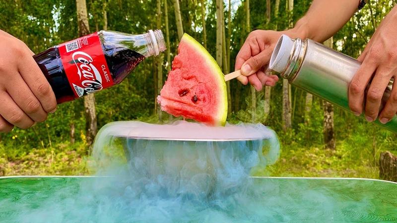 How to make ice cream from watermelon and liquid nitrogen Как сделать мороженое из арбуза и Азота