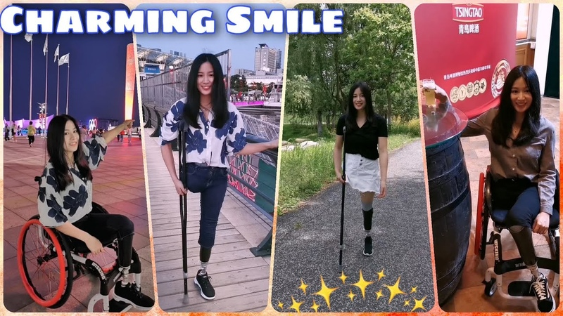 Beautiful leg amputee lady 71820 Crutching elegantly Cute amputee Charming Smile