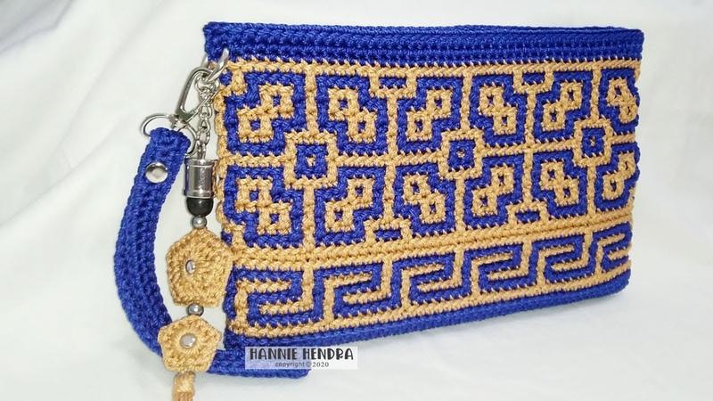 Crochet Dompet Rajut Motif Etnik Mosaic Crochet Subtitles Available