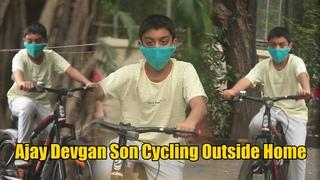Ajay devgan Cute Son Yug Devgan Spotted  Cycling Outside Home