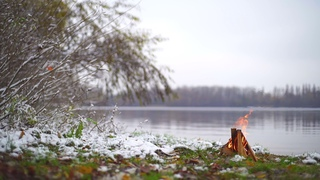 By the river. Winter. Relax music HD