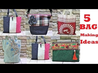 5 Easy Shopping Bag | Hand Bag  Making Ideas from Old Cloth |  Pillow Cover | Rice Bag and Old Jeans