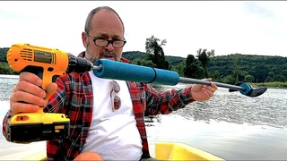 Electric Drill Paddle Motor Test on Small Snark Sailboat. Would work on a kayak, canoe too