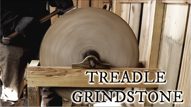 Installing a large treadle powered grindstone