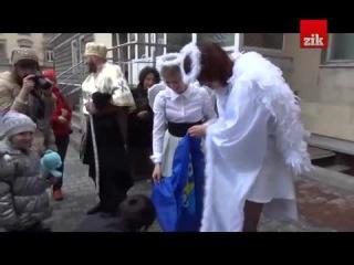 Святой Николай с ангелами сжигают флаг Партии Регионов