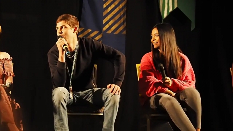 Hero Fiennes Tiffin and Afshan Azad at Leakycon 2017