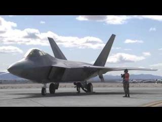 Lockheed/Boeing F-22 Raptor Starting Its Powerful Jet Engines F-22A Raptor in flight