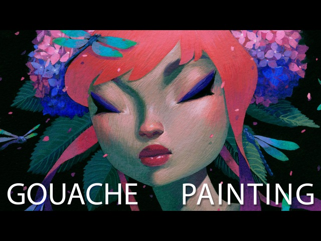 Hydrangea Night Gouache Painting