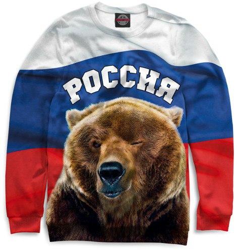 Медведь с российским флагом фото