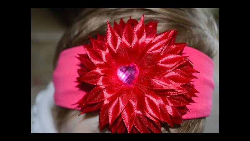 Мастер класс Канзаши Цветок Канзаши Повязка на голову Kanzashi flower to bandage for head