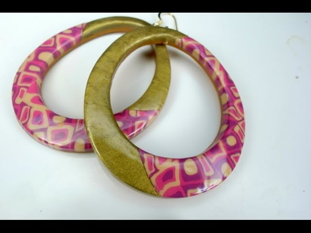 Polymer clay tutorial Spring colored mosaic earrings オーブン樹脂粘土で作る春色モザイクピアス