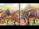 Speed Painting | Diptych | Autumn Landscape | Watercolor Gouache | IOTN