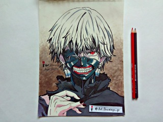 Drawing Kaneki Ken Tokyo Ghoul/Рисую Кэн Канэки Токийский монстр/金木 研トーキョーグールドローイング/...