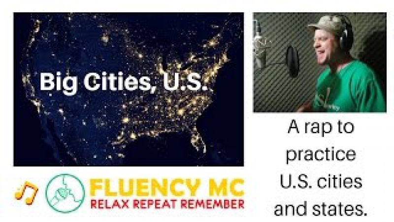 Learn and Practice USA Geography! Big Cities, U.S. Vocabulary with Fluency MC!