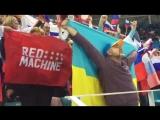 На российскую трибуну пришёл украинец с флагом. И он с нами радуется голу! #РоссияЧехия