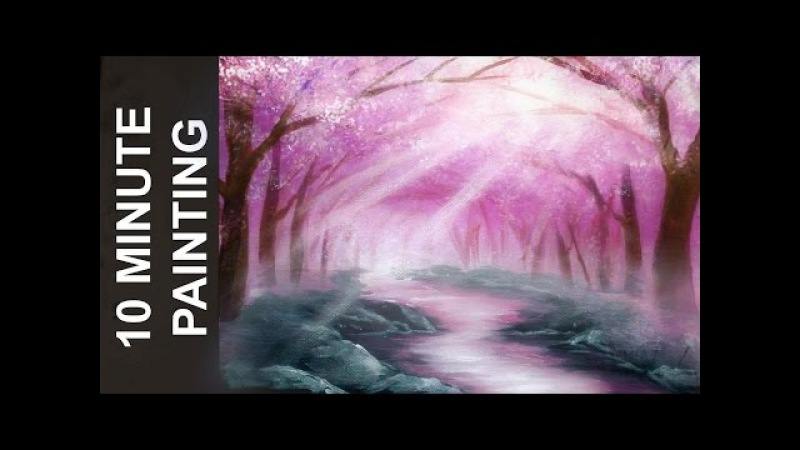 Painting a Cherry Blossom Tree Forest with Acrylics in 10 Minutes!