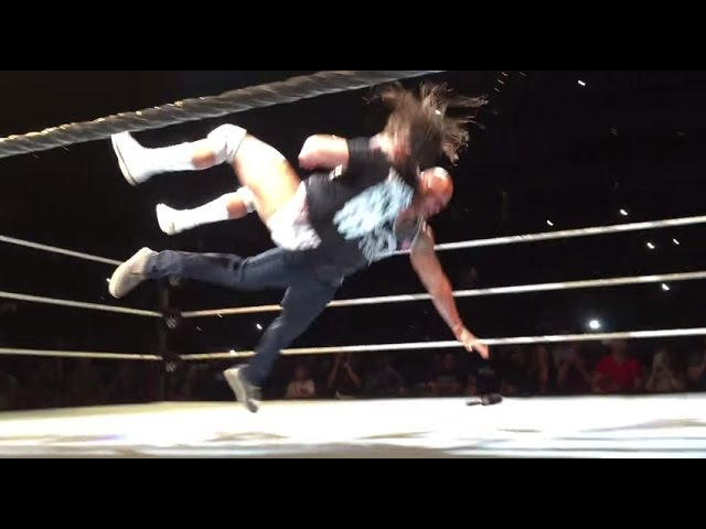 The Rock Rock Bottom and People's Elbow on Bo Dallas