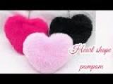 How to make heart shape pompom-heart gift for valentine's handmade gift for valentine