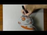 BB-8 из Звездных войн VII в 3D рисунке