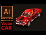 Drawing a Old School Racing Car in Adobe Illustrator - Fast draw concept Stitch to vector