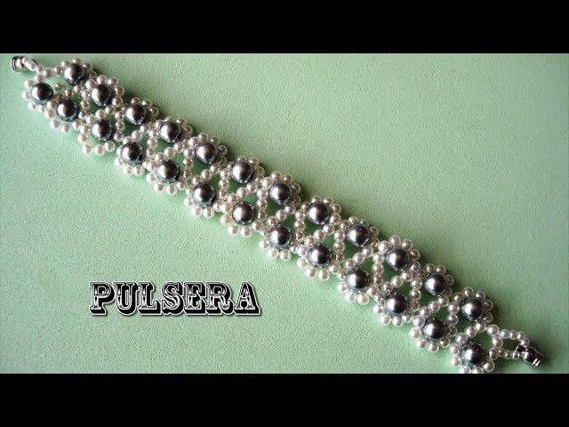 DIY- Pulsera facil de perlas grises DIY- Easy pearl bracelet gray
