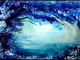Painting tree in blue and white acrylic colors over it's beautiful reflection in lake.