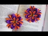 Красивые цветы канзаши из широкой ленты на резинку | МК DIY Lena Mur