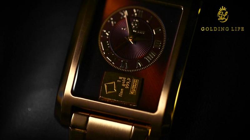 Статусные часы-браслет от GL с золотым инвестиционным слитком на циферблате.