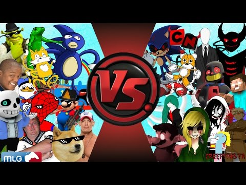 MLG vs CREEPYPASTA TOTAL WAR! (Sanic vs Sonic.EXE 3) Cartoon Fight Club Episode 111