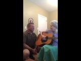 Son and his old mom sing a song