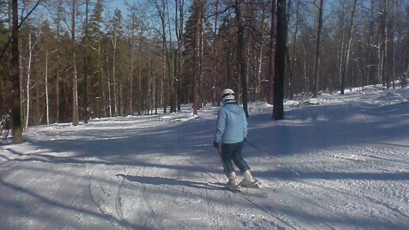 Завьялиха выкат с трасс 6 и 7 по лесу под подъемник Конрад март 2015