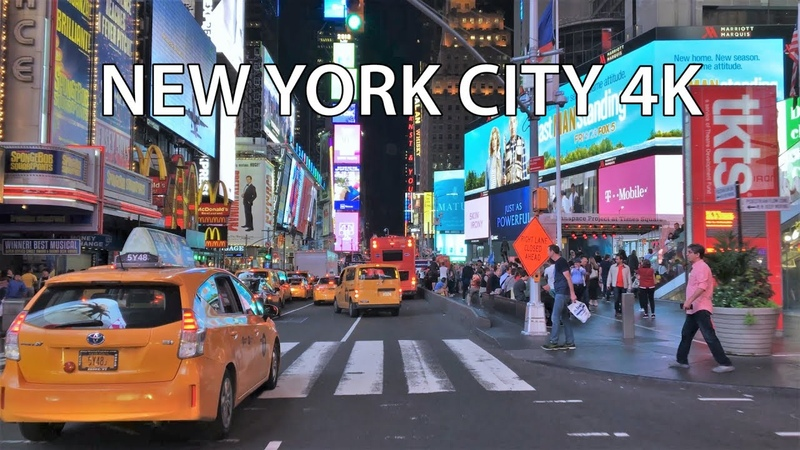 Drive 4K Times Square Night New York City USA