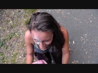 Mariah leonne -- brunette take facial in public park and cumwalk
