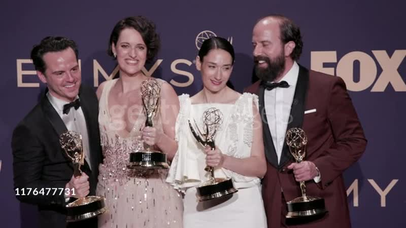Andrew Scott Phoebe Waller Bridge Sian Clifford and Brett Gelman at the 71st Emmy Awards Press Room