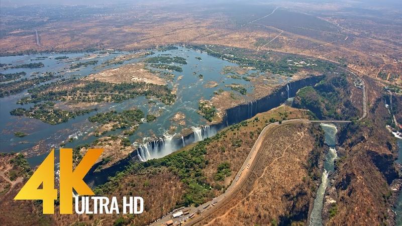 4K Victoria Falls - Africa, Zambia Zimbabwe - Nature Relaxation Video Aerial Views