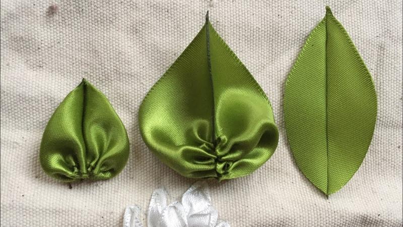 Cách làm lá đơn giản từ ruy băng [Ribbon Embroidery]