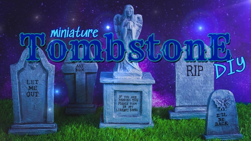 DIY - How to Make: Miniature Halloween Tombstones EASY Paper Crafts