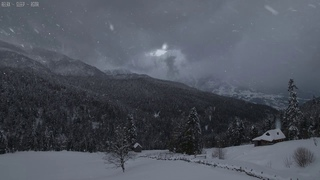 Relaxing Snow Falling and Wind Blowing Sounds in a Winter Landscape with an Old