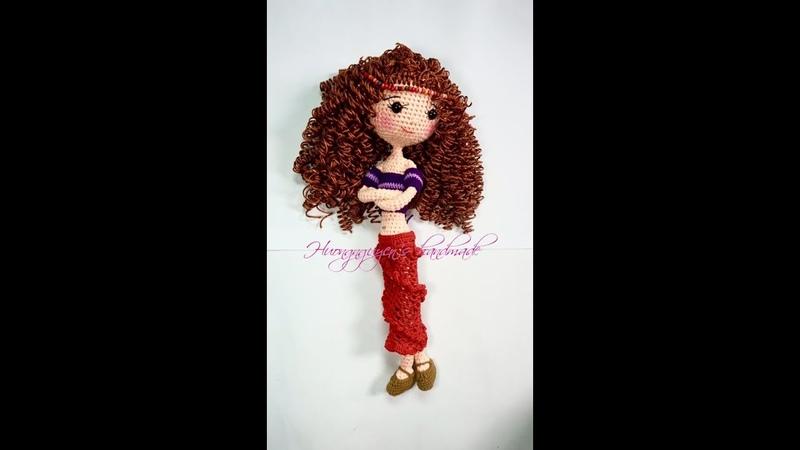 Cách làm tóc xoăn cho búp bê len_tutorial curly wig for crocheted doll