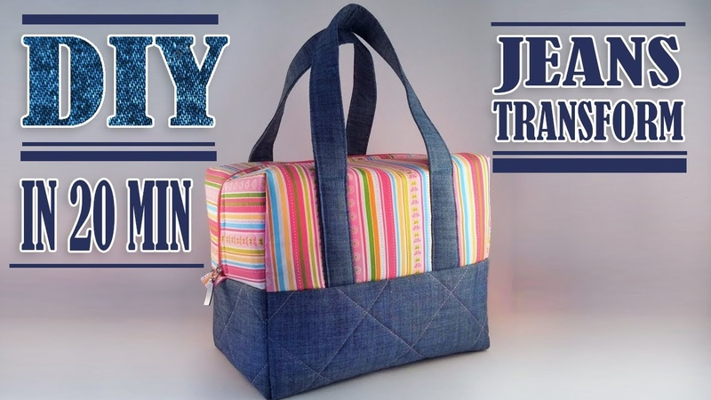 FANTASTIC DIY JEANS BAG IDEA Zipper HandBag Out Of Old Jeans Tutorial Fast Making