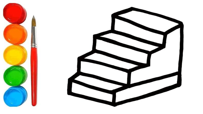 Belajar Toy Stairs Menggambar dan mewarnai Mainan Mewarnai Toy Stairs pelangi untuk anak anak