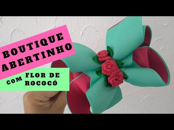 Laços de vabelo - Laço boutique abertinho com flor de rococó I Morgania Sales