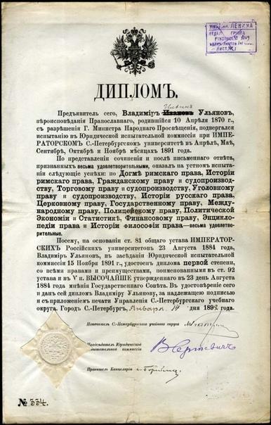 Диплом Владимира Ульянова (Ленина).