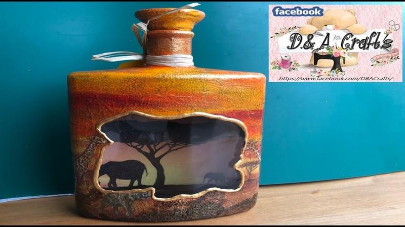 DIY How to make safari decoration on whiskey bottle TUTORIAL