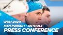 Пресс конференция по итогам мужской гонки преследования Антхольц 2020 Жаклен Йоханнес Бе и Логинов
