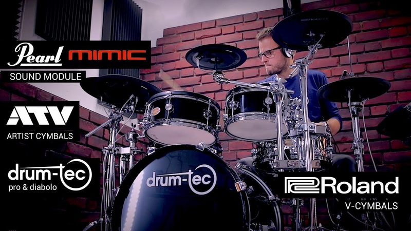 Drum-tec electronic drums with Pearl Mimic Pro, ATV Roland cymbals