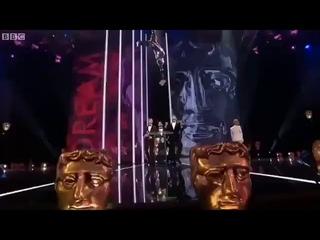 Taron Egerton, Richard Madden and Jamie Bell presenting at the #BAFTAs